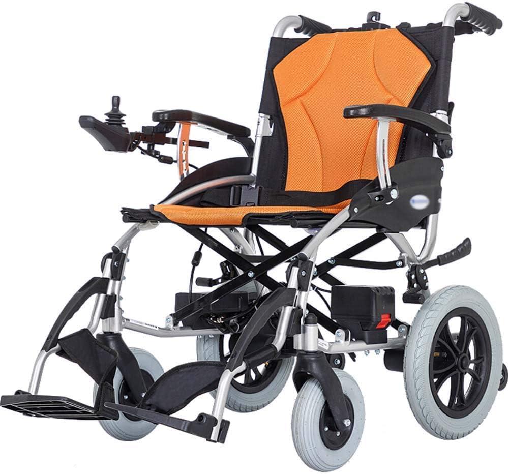 GAXQFEI Plegable doble función Silla de ruedas eléctrica, inteligente silla de ruedas eléctrica automática, Anchura del asiento 46 cm, Capacidad de carga 100 Kg,