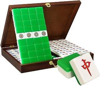 Tile Games 144 Mahjong Mahjong Card Game Mahjong Tiles Mahjong Tiles Chess with Wooden Box (Color : Green, Size : 37#)
