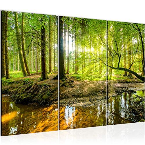 Runa Art Wald Landschaft Bild Wandbilder Wohnzimmer XXL Grün Natur 120 x 80 cm 3 Teilig Wanddeko 611731a