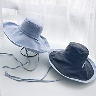 SHENTIANWEI Double-Sided hit Color hat Female Japanese Large Brimmed Sun hat UV Commentaries Korean net red Sun hat (Color : Blue+Black, Size : One Size)