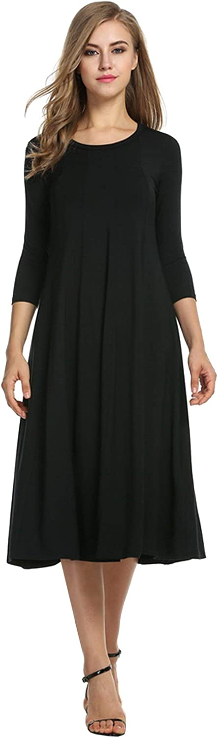 QiMei Women's 3/4 Sleeve A-line and Flare Midi Long Fall Winter Dress with Pocket