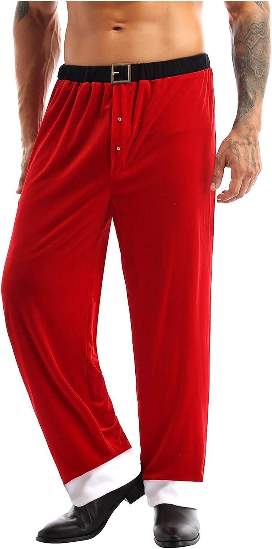 XUNZOO Mens Santa Claus Velvet Tulsa Mall Pants Trousers Long Christmas 5 ☆ very popular Paj