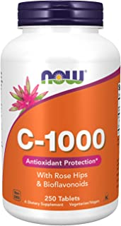 NOW Supplements, Vitamin C-1,000 with Rose Hips & Bioflavonoids, Antioxidant Protection*, 250 Tablets