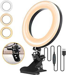 LEDリングライト ELEGIANT 6.3インチ 自撮りライト クリップ式 ビデオカメラ撮影 USB卓上スタンド 自撮り補光/美容化粧/ビデオカメラ撮影/生放送/YouTube/Facebook/Twitter/Tik Tok