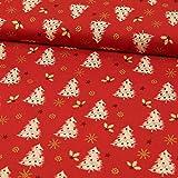 Stoffe Werning Baumwollstoff Weihnachten Tannenbaum rot