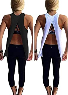 fc1d5513 Mazonyi Women's Sexy Open Back Yoga Workout Tops Backless Shirt Active  Workout Clothes