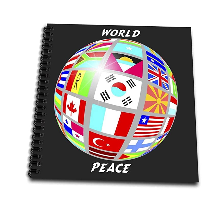 3dRose db_38913_1 World Peace Globe with All Countrys Flags-Drawing Book, 8 by 8-Inch