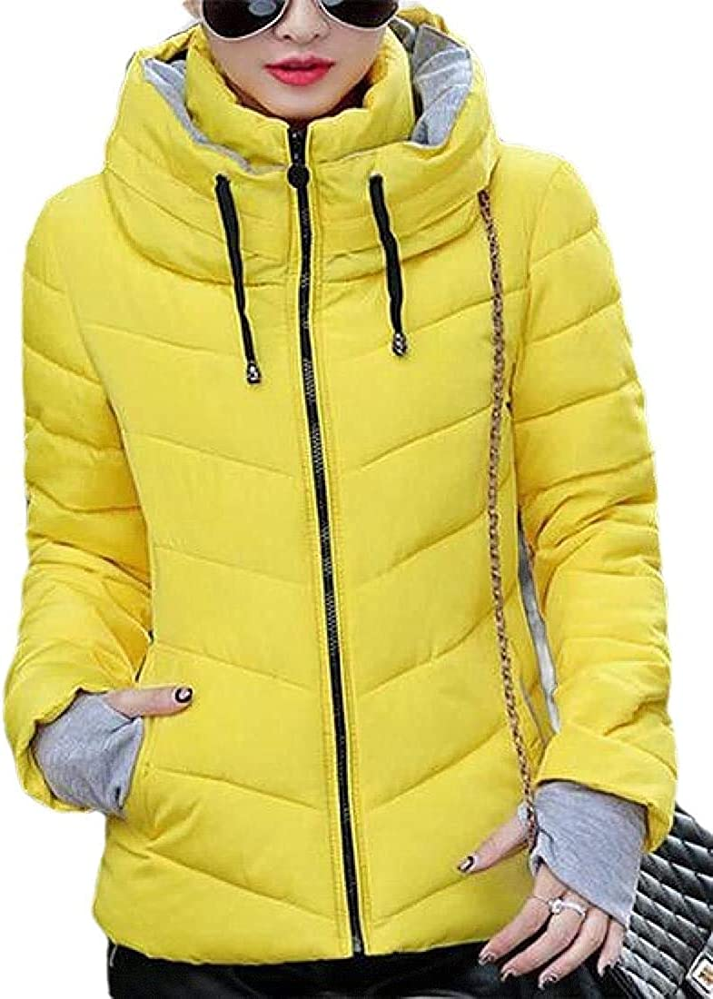Yhsuk Women Thicken Quilted-Jacket Stand-Collar Hooded Fall-Winter Puffer Down Coat