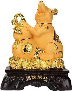 Feng shui statue statues 2020風水中国の黄道帯のご自宅やオフィスのためにラット/マウス年ゴールデン樹脂グッズ置物新年ラッキー装飾のためのラック&ウェルスパーフェクト