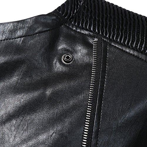BBring Herren PU Lederjacke, Mode Herbst & Winter Stehkragen BikerJacket Motorradjacke Reißverschluss Outwear Warm Mantel (M, Schwarz) - 6