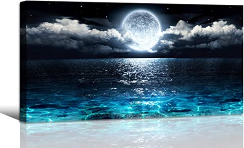 Wall Art Moon Sea Ocean Landscape Picture Canvas Wall Art Print Paintings Modern Artwork for Living Room Wall Decor a...