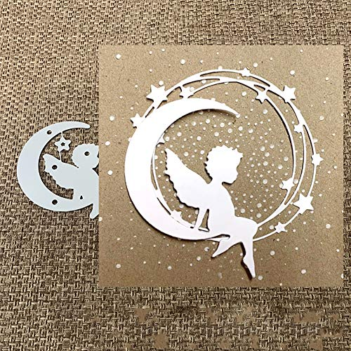 Stanzschablone Stanzform Engel auf dem Mond, Metall Stanzbögen Stanze Stanzrahmen Schablone zur Scrapbooking Karten Siber