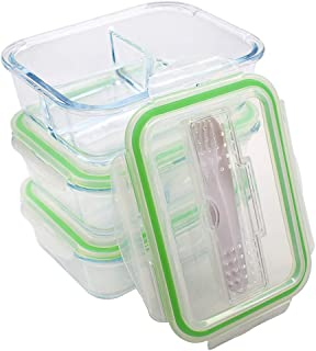 Bundle of 3 pack 35OZ BENTO BOX/BENTO BOXES FOR ADULTS with lids, LUNCH CONTAINERS PREP NATURALS MEALS ARE EQUIPPED with 3 COMPARTMENT CONTAINERS, The ultimate GLASS LUNCH CONTAINERS/BENTO BOXES
