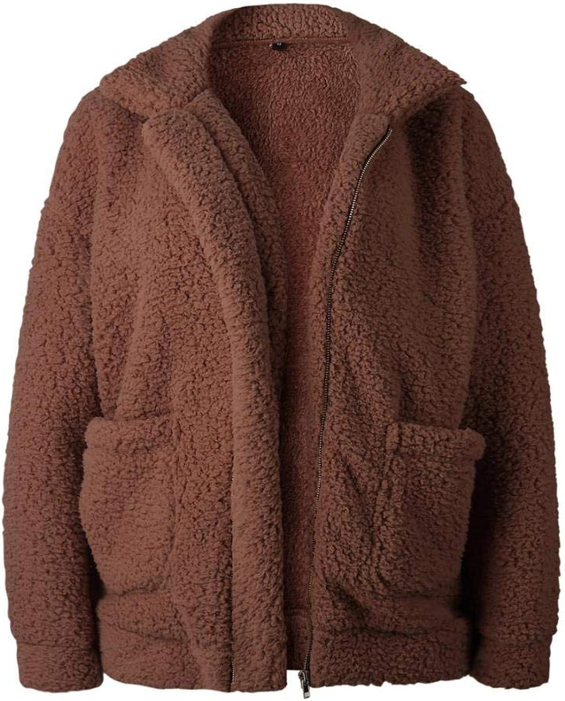 Manyysi Womens Fashion Jacket Long Sleeve Lapel Zip Up Faux Shearling Shaggy Oversized Coat Jacket for Women with Pockets