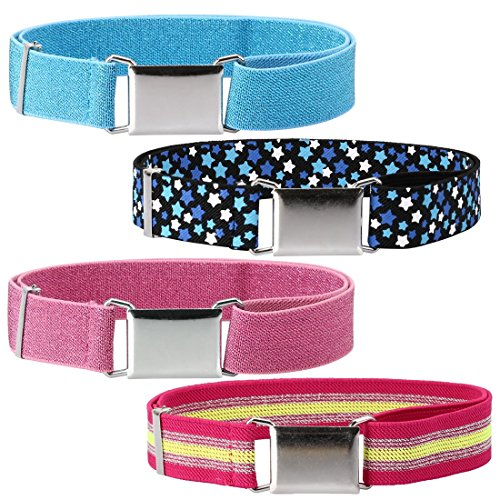 Ava & Kings 4pc Toddlers Mixed Design Adjustable Buckle Clasp Elastic Easy Belts - Shiny Pink/White