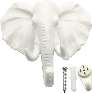 evilandat sola oreja de cabeza de elefante Perchero de pared perchero sombrero gancho con forma de animales decorativo regalo, blanco