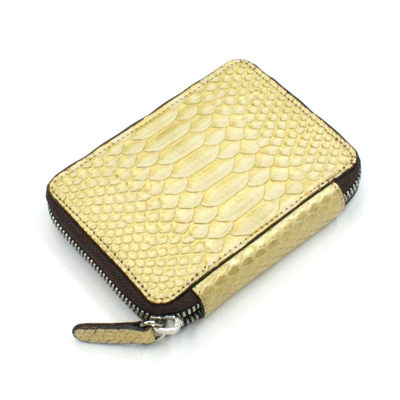 産地組み合わせ悪因子ZE1169-GOLD カード入れ 革 カードケース レザー 蛇革 パイソン ラウンド ファスナー レディース メンズ お札収納可 大容量 ヘビ ゼブラ ゴールド