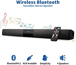 Bluetooth Sound Bar Portable Soundbar Wireless Speakers for Home Theater Surround Sound with Built-in Subwoofers for TV/PC/Phones/Tablets (21.6 Inch, Remote Control)