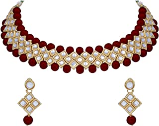 I Jewels Traditional Gold Plated Pearl & Kundan Choker Necklace Set With Earrings For Women (IJ322M)