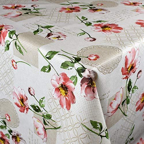 KEVKUS Mantel de Hule, 160 cm de Ancho, P1021-3, diseño de peonías y Flores, para jardín, a Elegir, Rectangular, Redondo y Ovalado