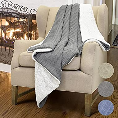 Cable Knit Sherpa Throws, Reversible Super Soft Sherpa Sweater Blanket Warm Cozy for Couch Bed 60x50 Gray By Catalonia