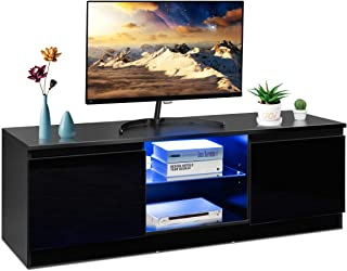 Tangkula TV Stand with LED Lights, Modern High Gloss Media Console Storage Cabinet, Entertainment Center with LED Light, Shelves, and Cabinets (Black)
