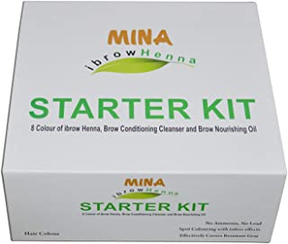 MINA Ibrow Henna Starter Kit (8 Colors Of Ibrow Henna, IBrow Conditioning Cleanser,IBrow Nourishing Oil)