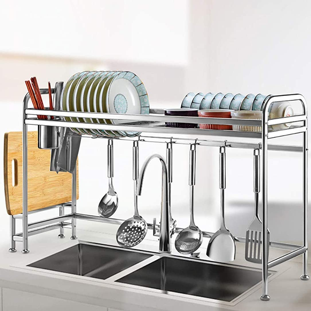 癒すウィザード敏感な便利な実用的な棚皿乾燥ラックシンク上の皿ラック、キッチンカウンター水切りラック、91CM用器具ホルダーフック付き304ステンレス製皿ラック