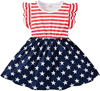 MODNTOGA Toddler Baby Girls 4th of July Outfit American Flag Dress Stars Striped Straps Princess Summer Outfits