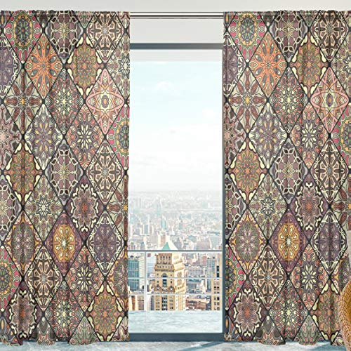 """senya SAVSV Window Sheer Curtains, Bohemian Style Brown Moroccan 55"""" W x 78"""" L Voile Drapes 2 Panels for Living Room Bedroom Room"""