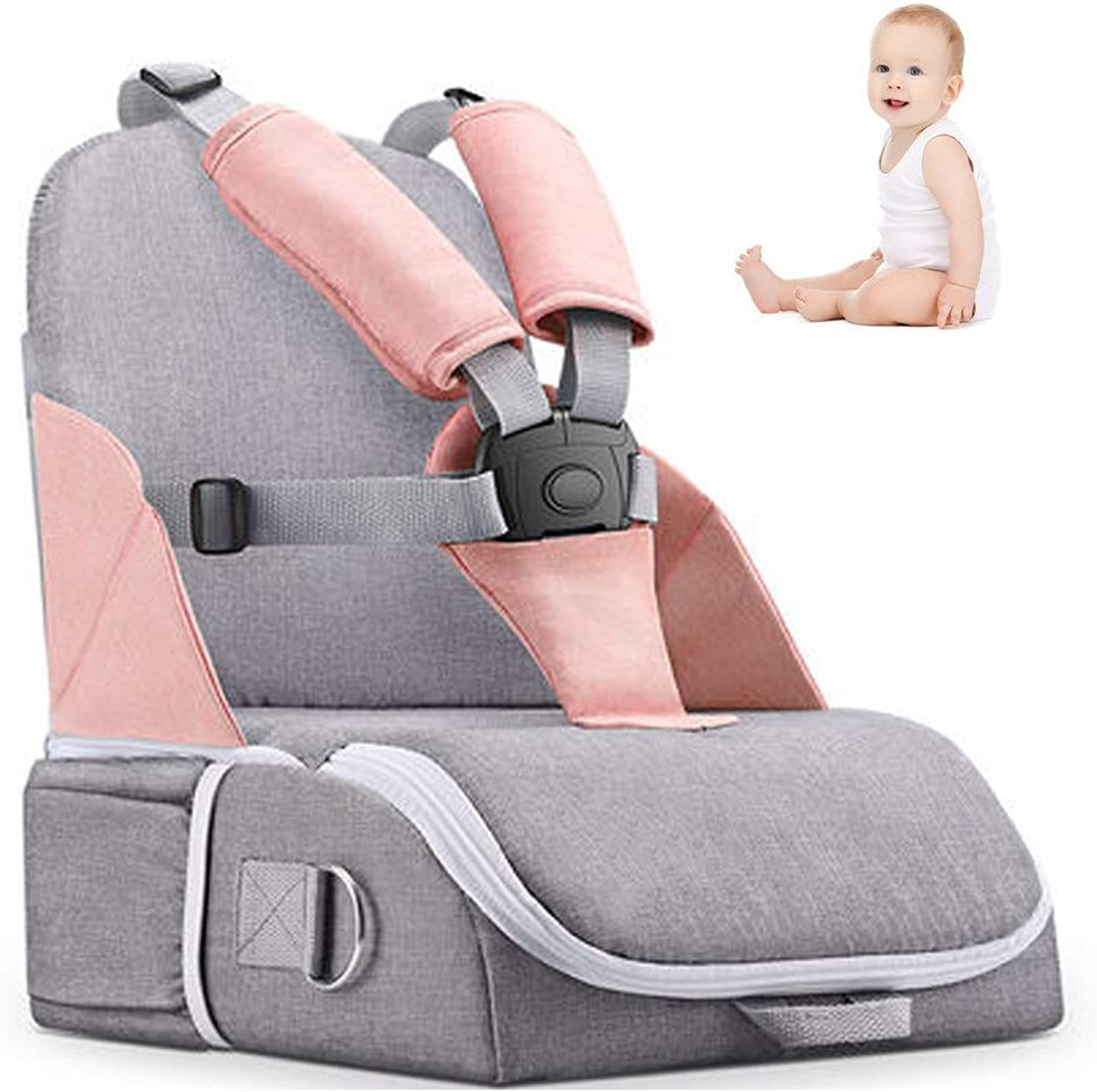 Travel Booster Seat,Feeding Booster Mommy Bag Foldable Large Capacity As High Chair for Babies Toddlers for Journeys,LightPink