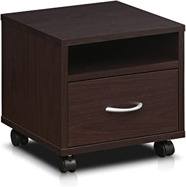 Furinno Indo Petite Under Desk Utility Cart with Casters, Espresso