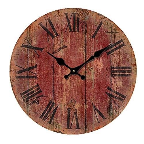 Horloge De Nuage R¨¦tro Ronde Soleil Mouvement Balayage Secondes Horloge Murale Silencieuse E 16-Pouce(Diam¨¨tre 40Cm£©