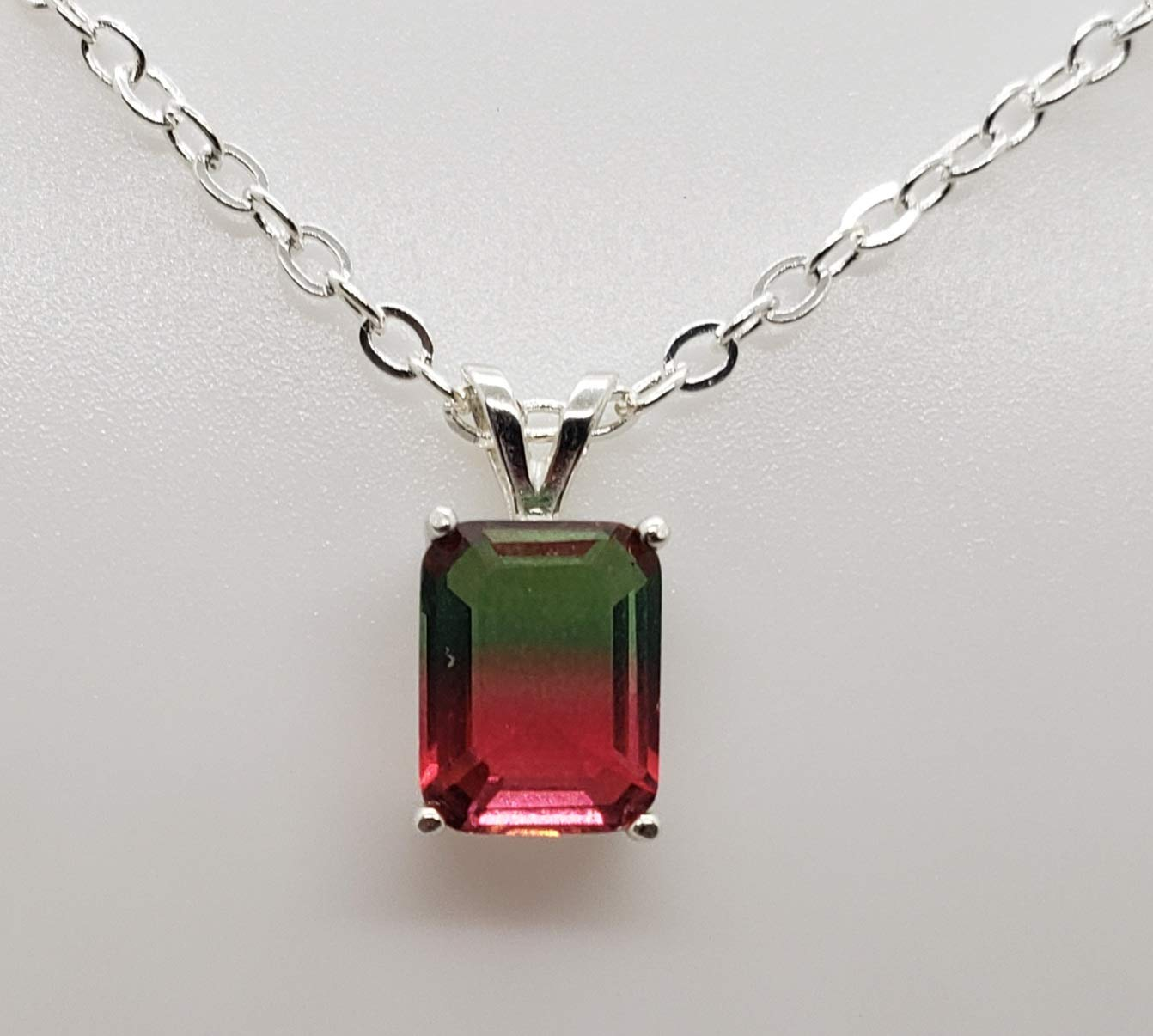 1.8ct Ranking NEW before selling ☆ TOP12 Watermelon Tourmaline Sterling Silver Necklace