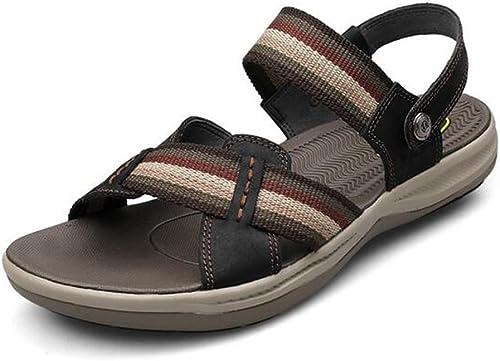 Hommes Chaussures de sport d'été sandales en cuir chaussures de plage bascule tongs grande taille GLSHI