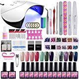 Saint-Acior 12PCS Gel Uñas Esmalte Semipermanente 8ml UV/LED Lámpara Secador de Uñas 36W Nail...