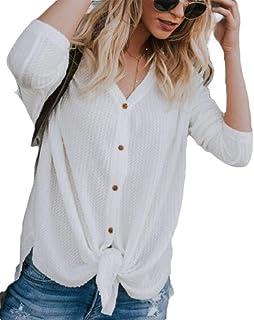 Women Long Sleeve Tops Waffle Knit Tunic Blouse Tie Knot Plain Shirts