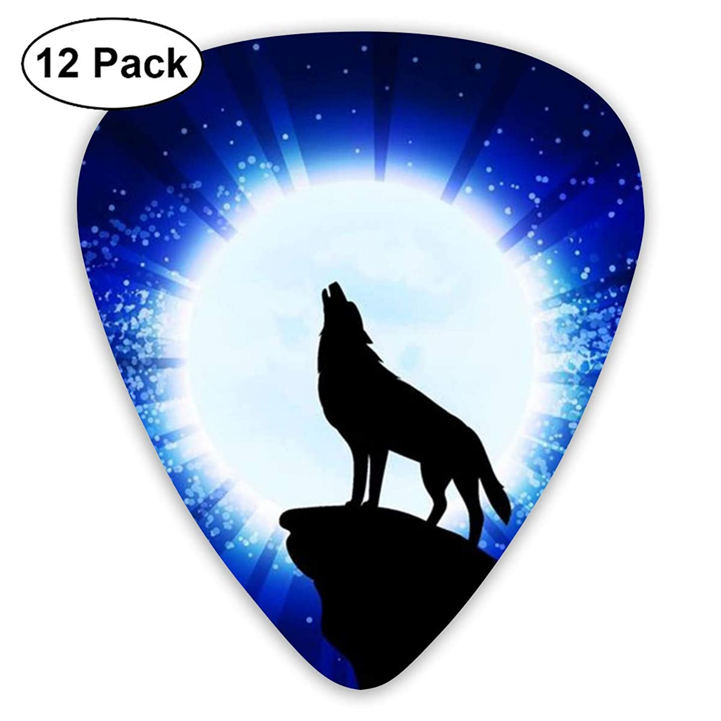LETI LISW Howling Wolf in Night Guitar Picks 12 Pack Universal Plastic Celluloid Medium in A Box Best Gift