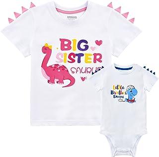 WAWSAM Traje de hermana mayor hermano pequeño bebé Camisa juego Conjunto de dinosaurio