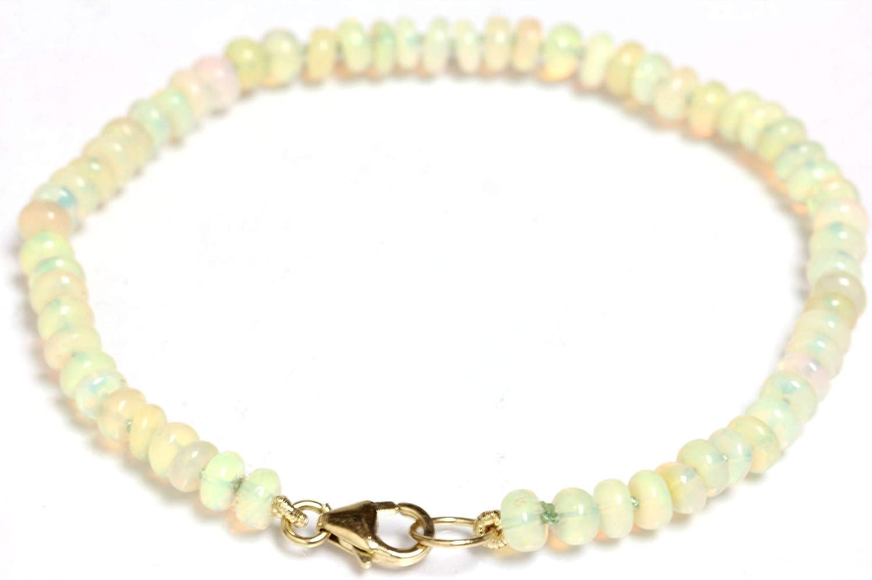 Superior Seven Seas 2021 model Pearls Fire Opal Bracelet 14k Ethiopian Yel 4mm Beads