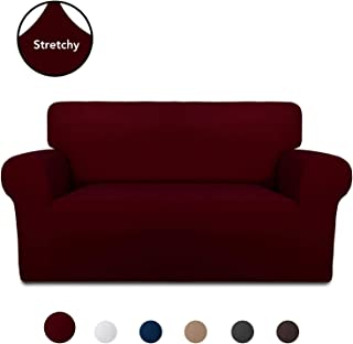 PureFit Super Stretch Chair Sofa Slipcover – Spandex Anti-Slip Soft Couch Sofa Cover, Washable Furniture Protector with Anti-Skid Foam and Elastic Bottom for Kids, Pets (Loveseat, Wine)