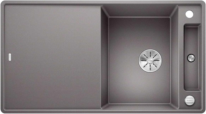 Weiß Axia III 5 S-F Alumetallic Grau 523 233 Granitspüle Spülbecken Küche mit Glasschneidbrett Exzenterbettigung