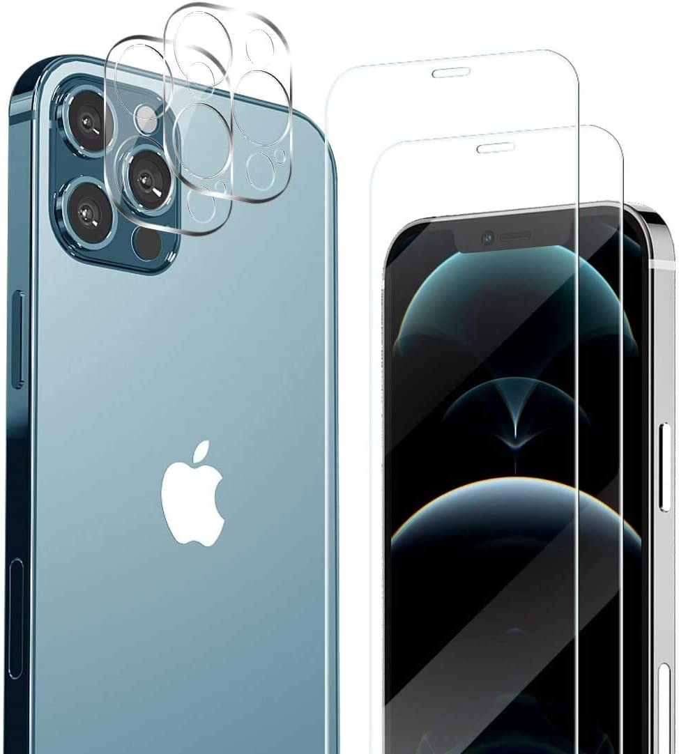 iPhone 12 Pro Max 2 Pack Tempered Glass + 2 Pack Camera Lens Protector With Easy Installation HD Clear [Tempered-Glass] [Military Protective] [HD Clear] [Case Friendly] [Anti-Fingerprint] [Anti-Scratch]