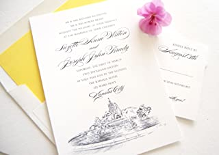 Kansas City Fountain Skyline Wedding Invitations Package (Sold in sets of 10 Invitations, RSVP Cards and Envelopes)
