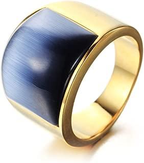 Oakky Jewelry Men's Women's Mosaic Cat's Eye Stone Stainless Steel Opal Rings, Wide