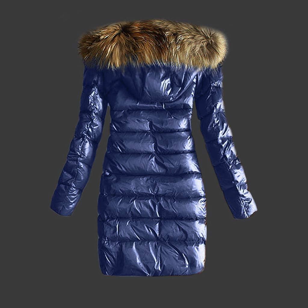 KaloryWee 2019 Winter Damen Revers Kapuzen Daunenjacke Parka Winterjacke Steppjacke Frauen Outwear Gesteppte Mantel Bequem Warm Pelzkragen Kapuzenjacke mit Gürtel Blau - A