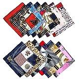 12 piezas de Bufandas para mujer Pañuelo de moda Bufanda para el Cabello Multifuncional Pañuelo Cuadrado de seda Mezclada para damas 50 cm x 50 cm