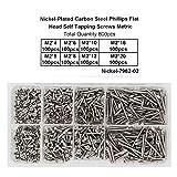 800 Stück M2 selbstschneidende Schrauben aus Edelstahl, Flachkopf Blechschrauben