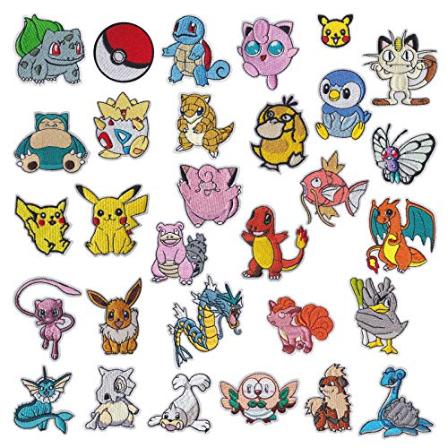 Iron on Patches 30 Pieces Anime Pocket Monster Pikachu Embroidered Iron on/Sew on Decorative Applique Patch Patches for DIY Jeans, Jackets, Shirts, Bag, Caps (Pocket Monster)