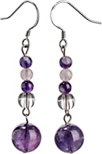 YACQ Sterling Silver Natural Gemstone Dangle Earrings Handcrafted Jewelry for Women